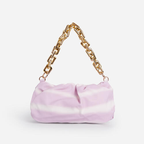 Margie Pouch Clutch Bag In Lilac Tie Dye Faux Leather