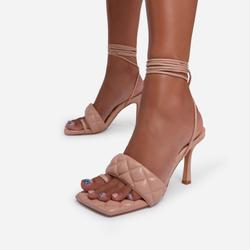 Chick Lace Up Square Toe Quilted Kitten Heel In Nude Faux Leather