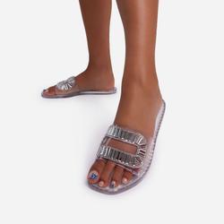 Winston Diamante Detail Flat Slider Sandal In Clear Rubber