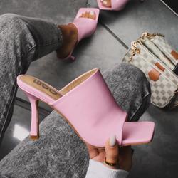 Edan Square Peep Toe Heel Mule In Pink Patent