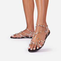 Frankie Diamante Detail Perspex Flat Gladiator Sandal In Black Faux Leather