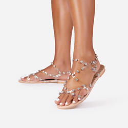 Frankie Diamante Detail Perspex Flat Gladiator Sandal In Nude Patent