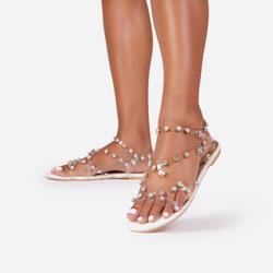 Frankie Diamante Detail Perspex Flat Gladiator Sandal In White Patent