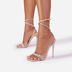 Ciara Diamante Chain Detail Square Toe Clear Perspex Heel In Nude Patent
