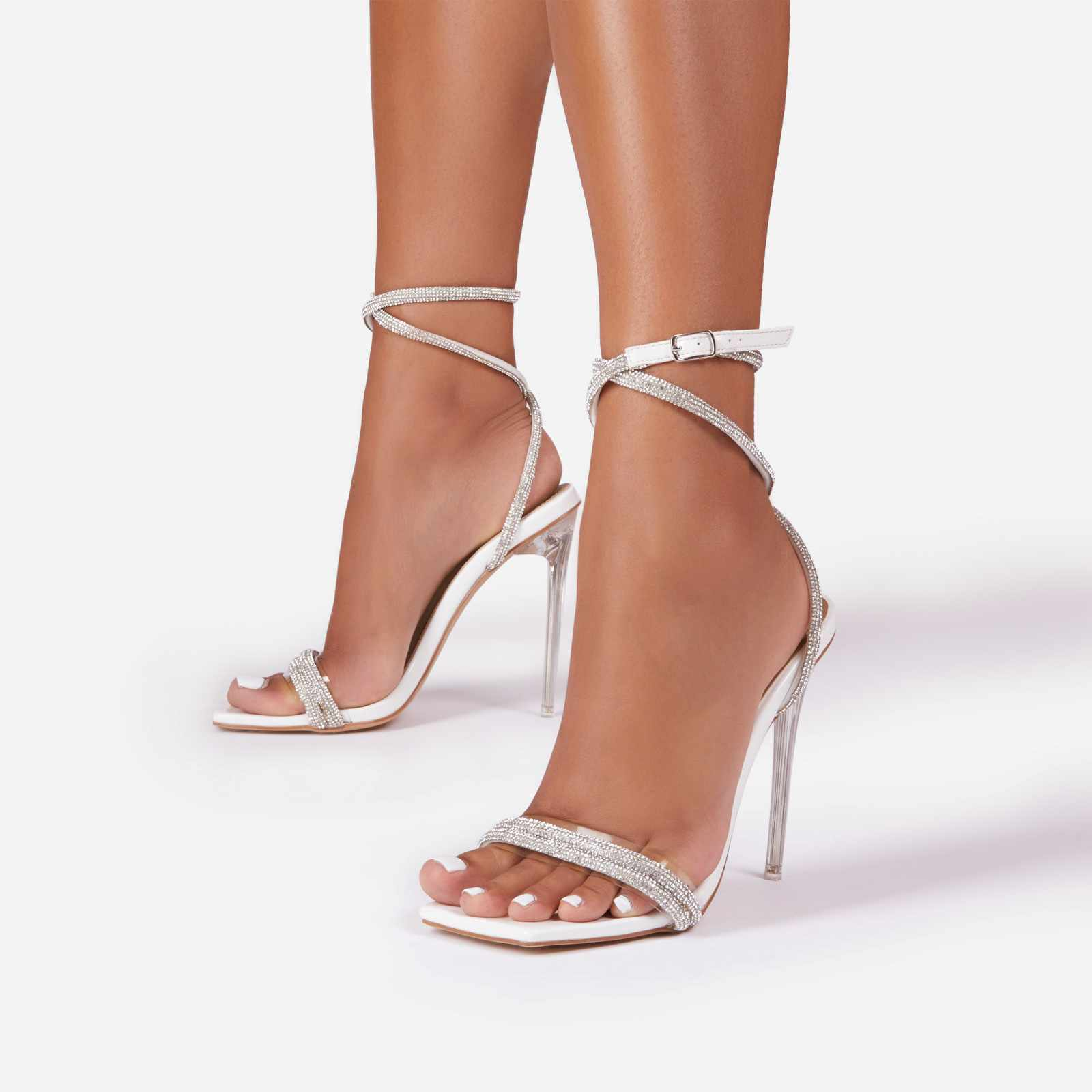 Ciara Diamante Chain Detail Square Toe Clear Perspex Heel In White Patent