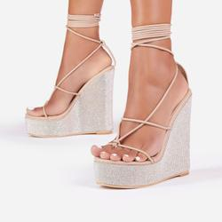A-List Diamante Detail Lace Up Wedge Platform Heel In Nude Faux Leather