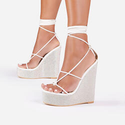 A-List Diamante Detail Lace Up Wedge Platform Heel In White Faux Leather