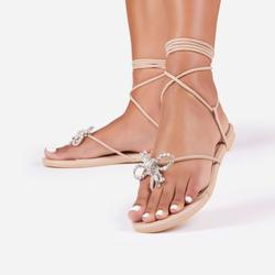 Truffle Diamante Bow Detail Lace Up Flat Gladiator Sandal In Nude  Faux Leather