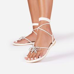 Truffle Diamante Bow Detail Lace Up Flat Gladiator Sandal In White Faux Leather