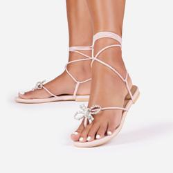 Truffle Diamante Bow Detail Lace Up Flat Gladiator Sandal In Light Pink Faux Leather