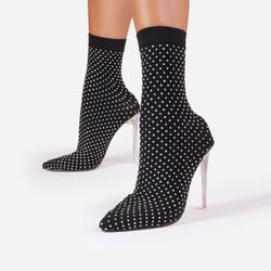 Mayhem Diamante Detail Clear Perspex Ankle Sock Boot In Black Fine Knit