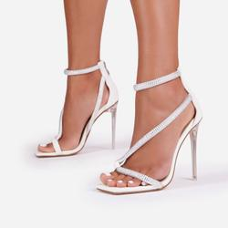 Haze Diamante Detail Square Toe Clear Perspex Heel In White Faux Leather