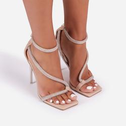 Haze Diamante Detail Square Toe Clear Perspex Heel In Nude Faux Leather