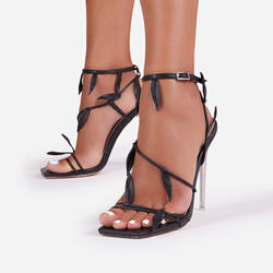 Whisper Leaf Detail Square Toe Clear Perspex Heel In Black Faux Leather