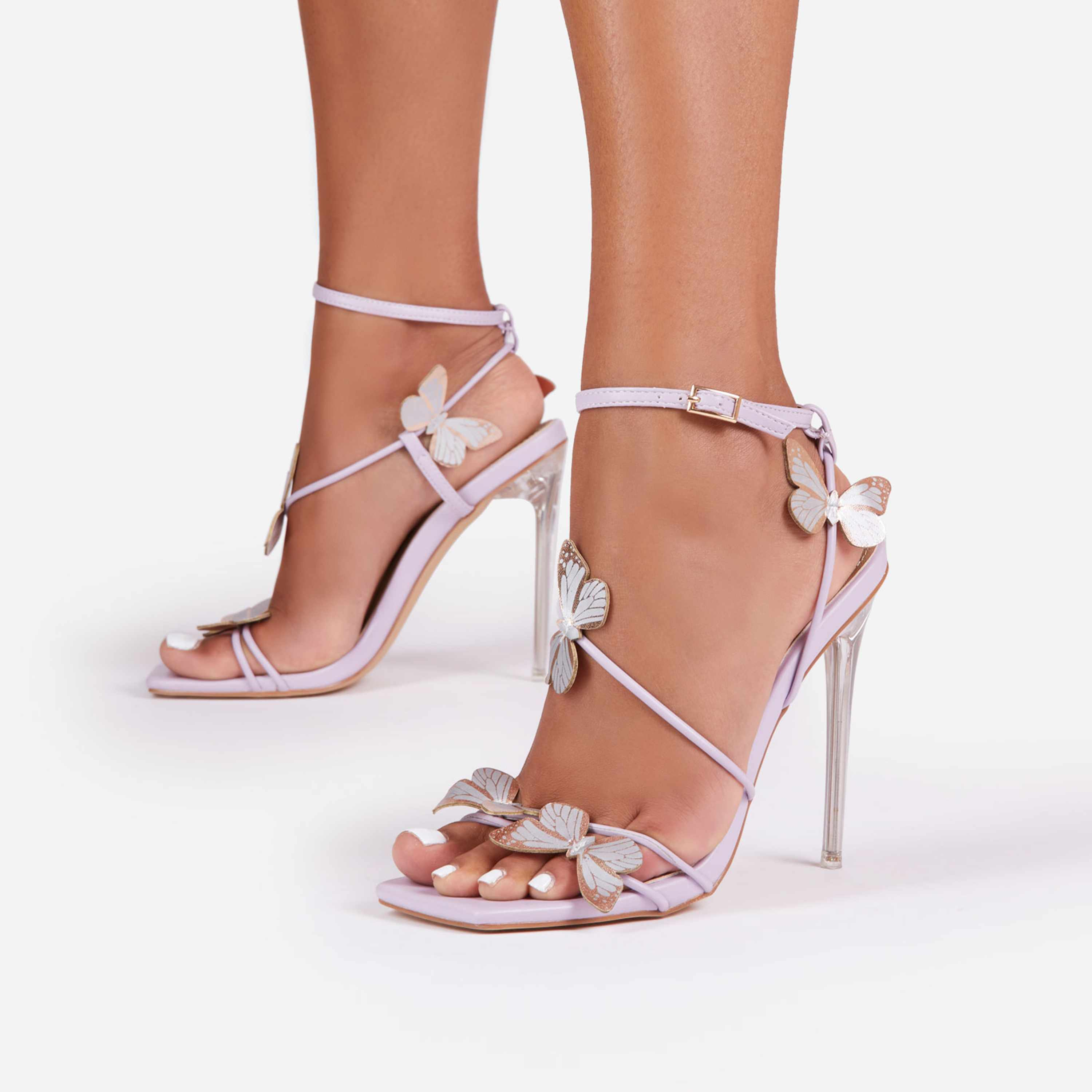 Aisha Butterfly Detail Square Toe Clear Perspex Heel In Lilac Faux Leather