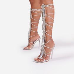 Drip Diamante Tassel Detail Knee High Lace Up Square Toe Clear Perspex Heel In Silver Holographic Faux Leather