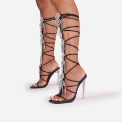 Drip Diamante Tassel Detail Knee High Lace Up Square Toe Clear Perspex Heel In Black Faux Leather