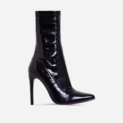 Fiona Pointed Toe Ankle Sock Boot In Black Croc Print Faux Leather