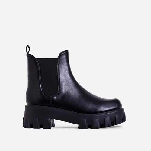 Easton Chunky Sole Ankle Chelsea Biker Boot In Black Faux Leather