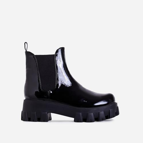 Easton Chunky Sole Ankle Chelsea Biker Boot In Black Patent
