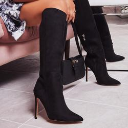 Rose Knee High Long Boot In Black Faux Suede