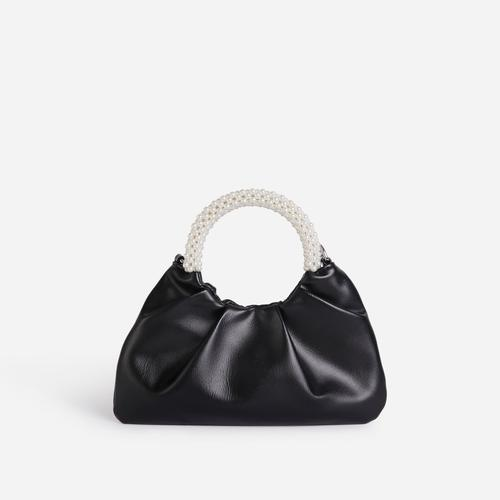 Meegan Pearl handle Detail Ruched Bag In Black Faux Leather