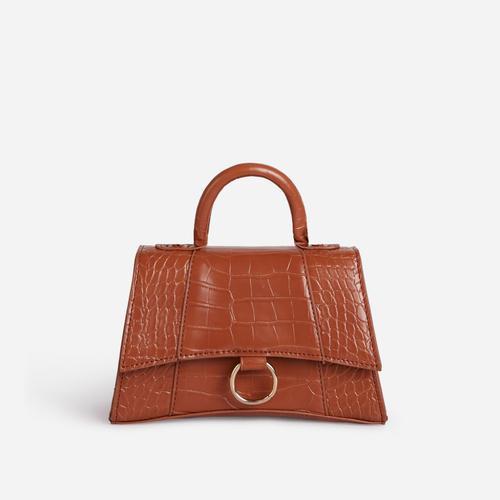 Georgie Ring Detail Tote Bag In Tan Brown Croc Print Patent