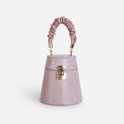 Florence Ruched Handle Mini Bag In Lilac Croc Patent