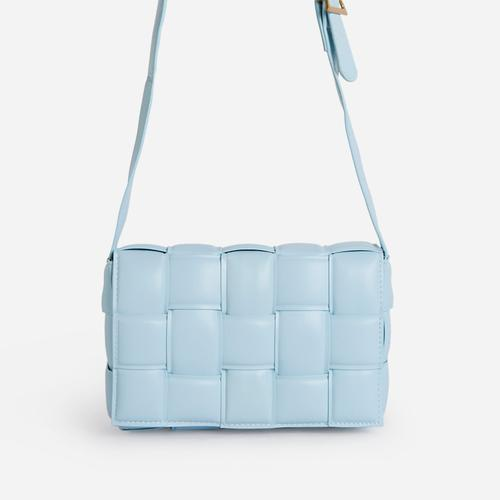 Mae Quilted Cross Body Bag In Blue Faux Leather
