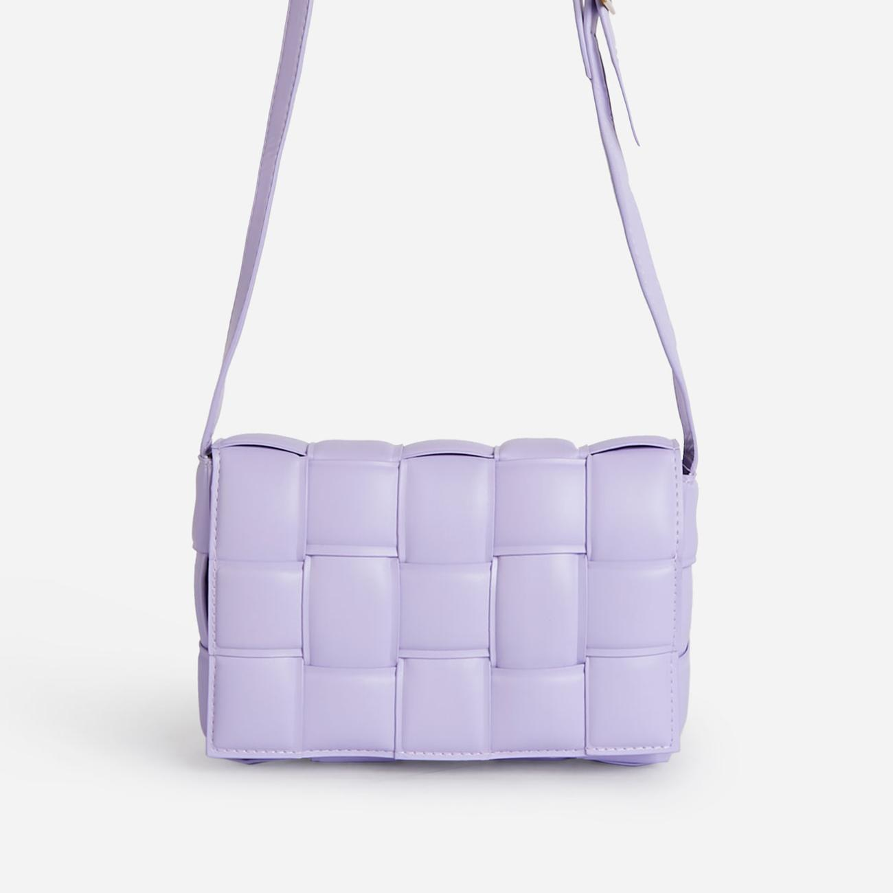 Mae Quilted Cross Body Bag In Lilac Faux Leather Image 1