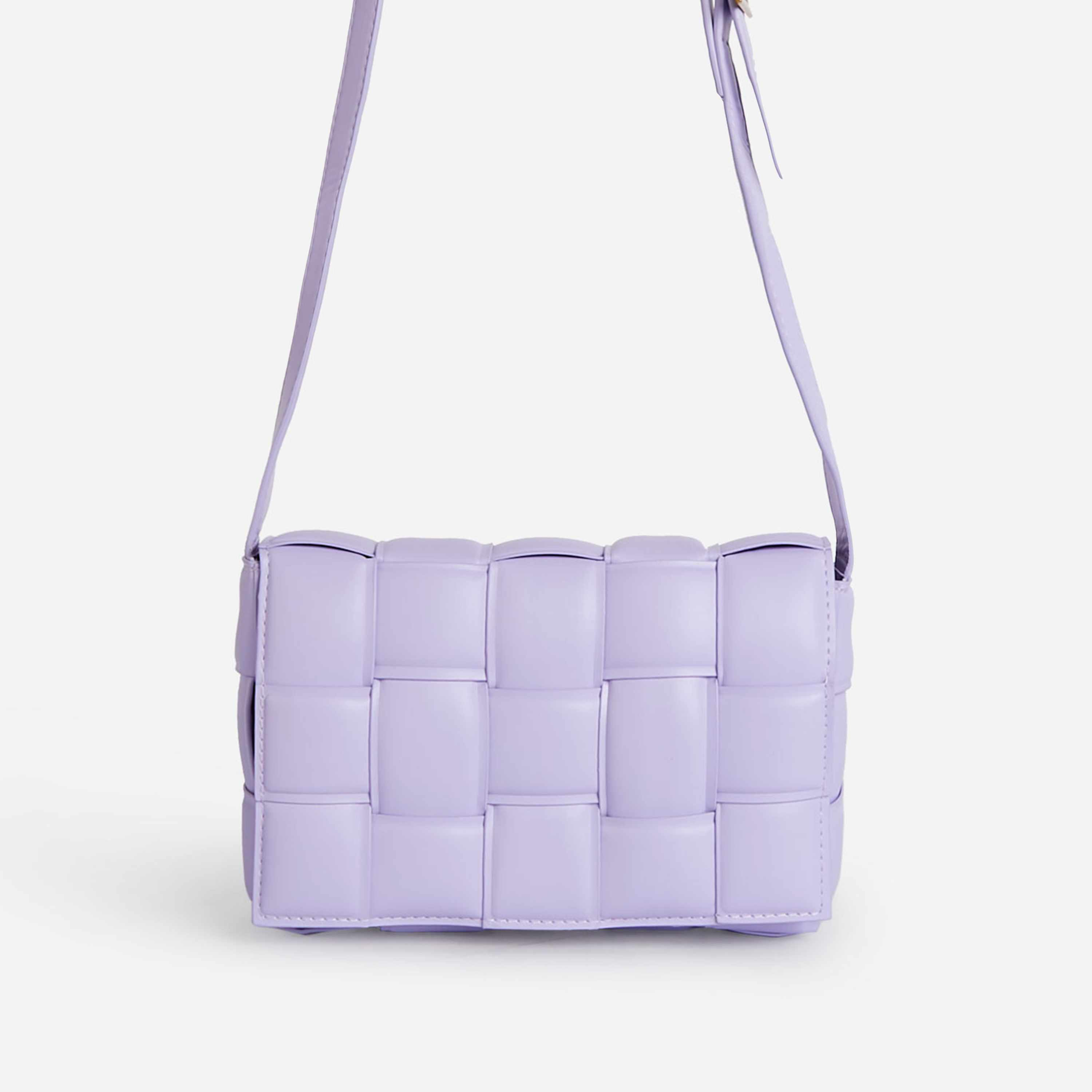 Mae Quilted Cross Body Bag In Lilac Faux Leather