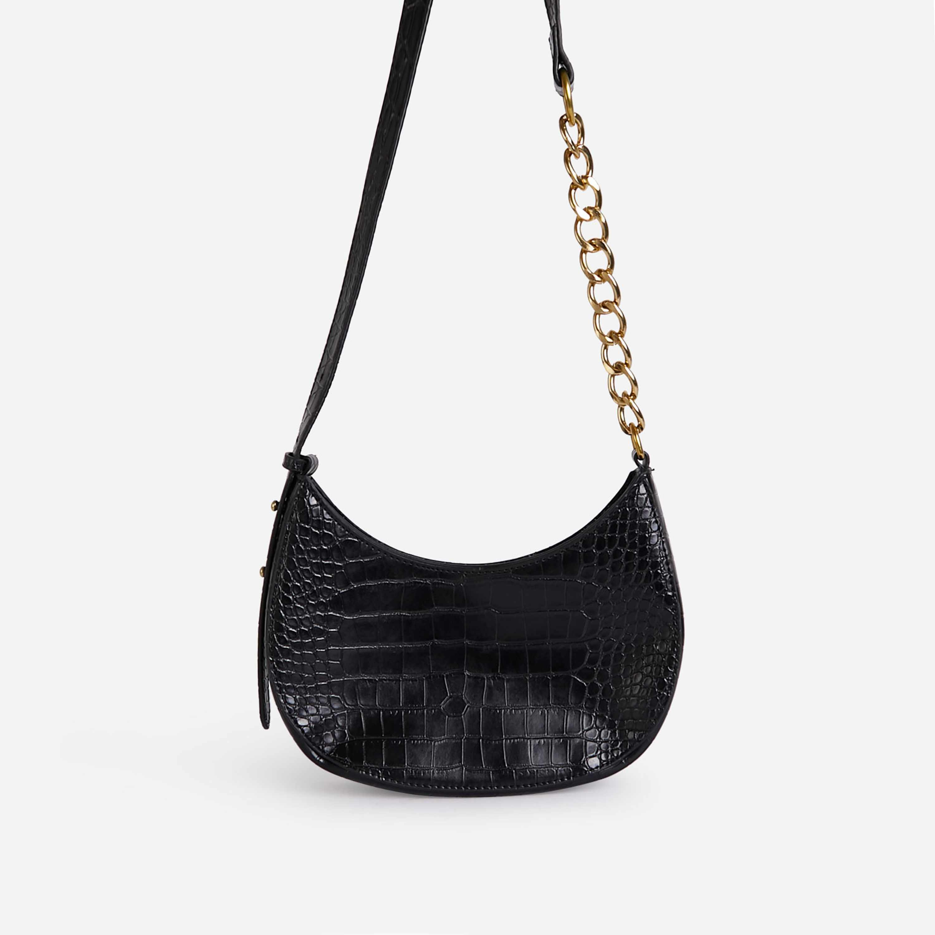 Leigh Chain Detail Curved Shoulder Bag In Black Croc Print Faux Leather
