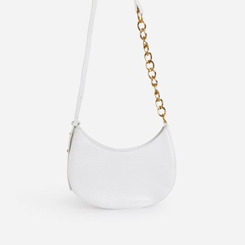 Leigh Chain Detail Curved Shoulder Bag In White Croc Print Faux Leather