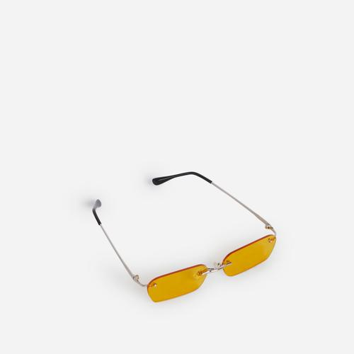 Frameless Small Sunglasses In Yellow