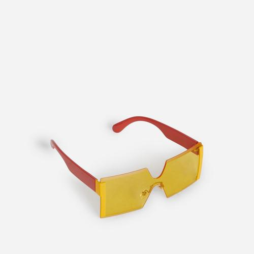 Oversized Frameless Square Sunglasses In Yellow