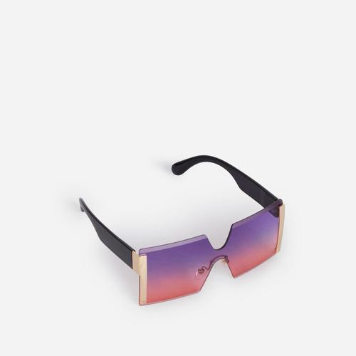 Oversized Frameless Square Sunglasses In Pink And Purple