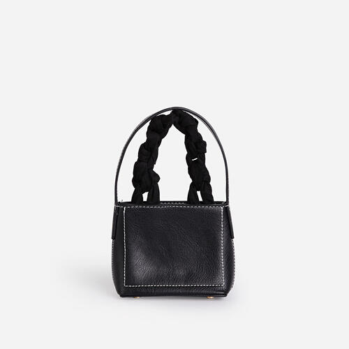 Hampton Woven Handle Mini Grab Bag In Black Faux Suede