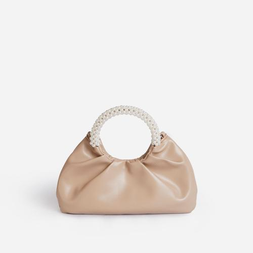 Meegan Pearl handle Detail Ruched Bag In Nude Faux Leather