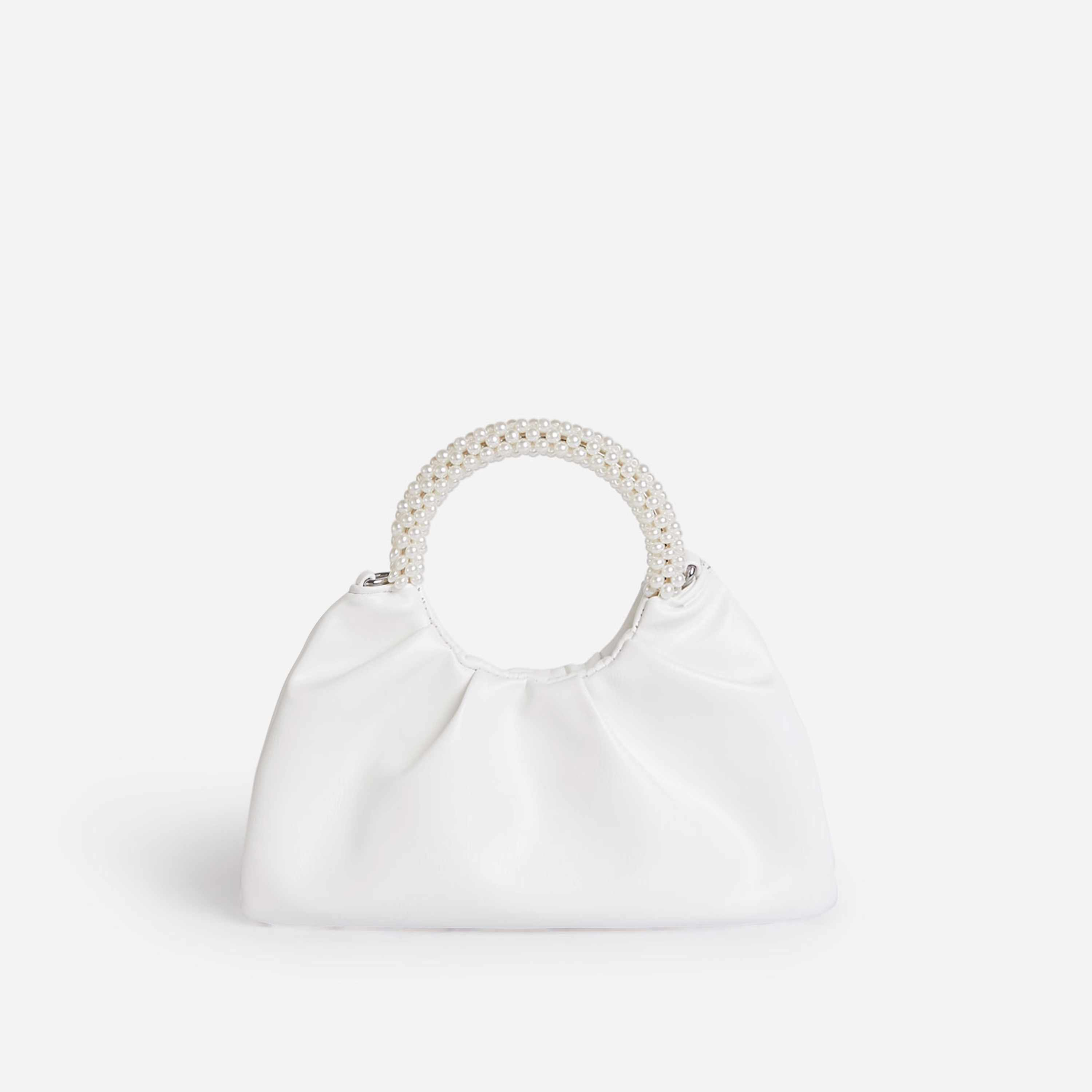 Meegan Pearl handle Detail Ruched Bag In White Faux Leather
