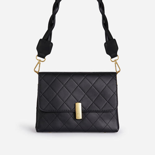 Mathilde Woven Strap Boxy Bag In Black Faux Leather