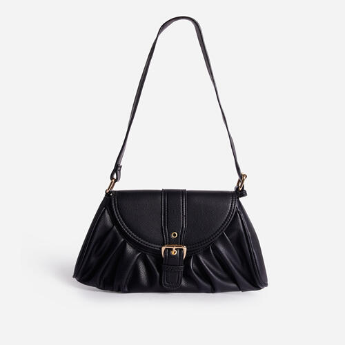 Winnie Buckle Detail Ruched Shoulder Bag In Black Faux Leather
