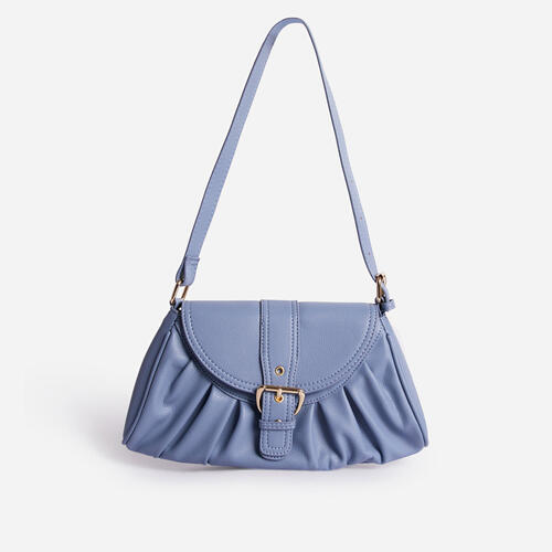 Winnie Buckle Detail Ruched Shoulder Bag In Blue Faux Leather