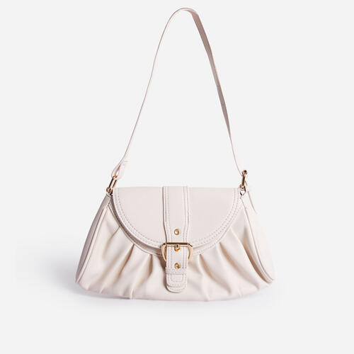 Winnie Buckle Detail Ruched Shoulder Bag In White Faux Leather
