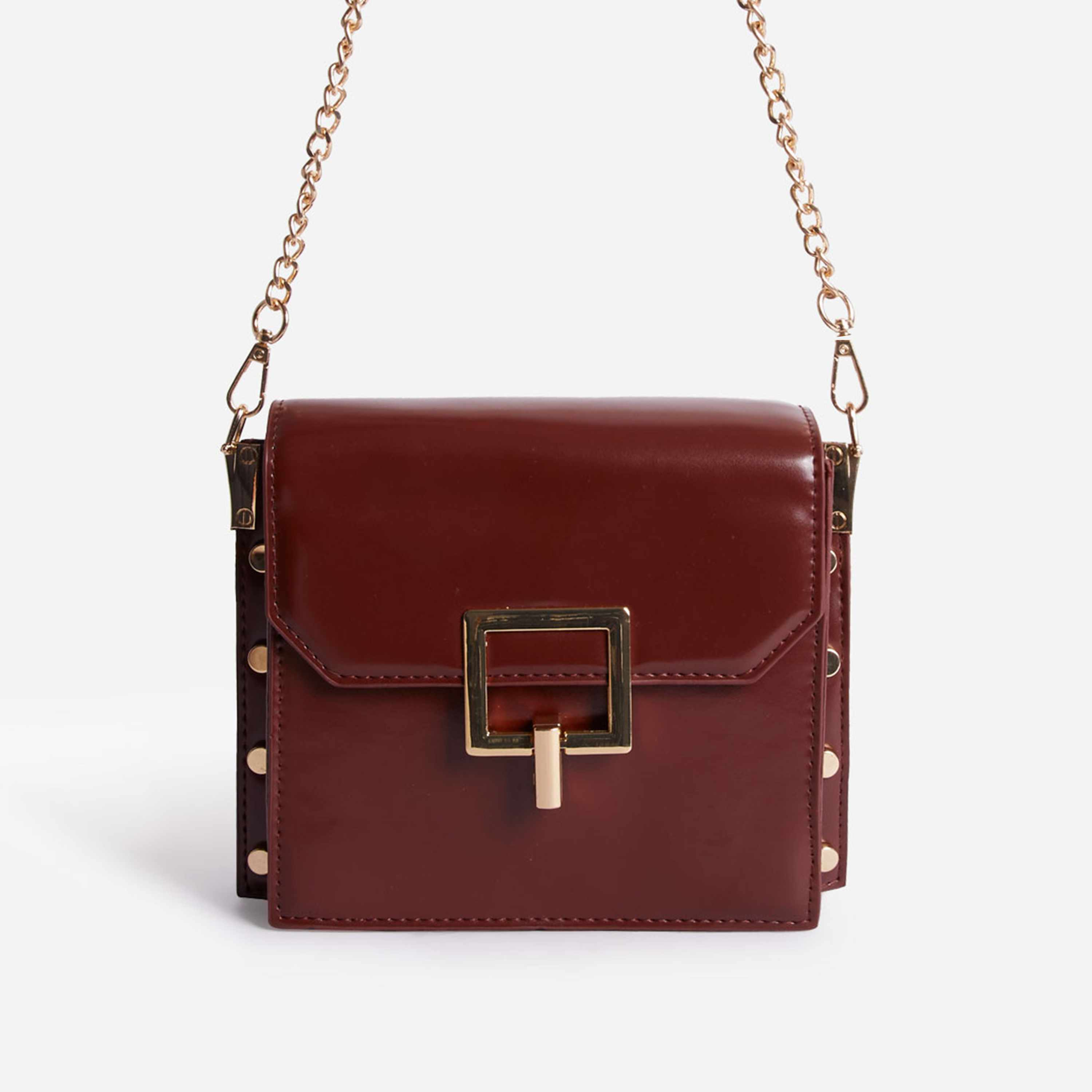 Frost Chain Strap Buckle Detail Mini Cross Body Bag In Red Faux Leather