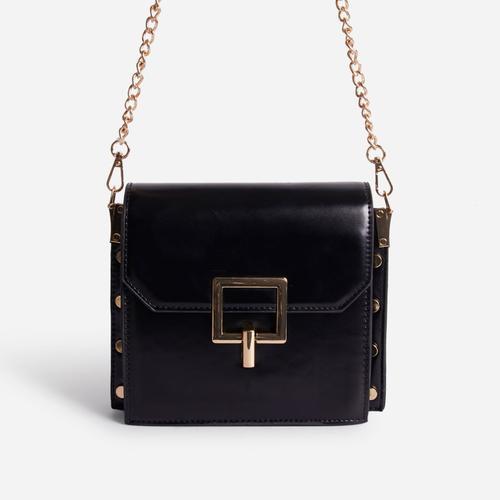 Frost Chain Strap Buckle Detail Mini Cross Body Bag In Black Faux Leather