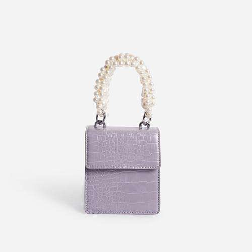 Duchess Pearl Handle Mini Grab Bag In Grey Croc Print Faux Leather