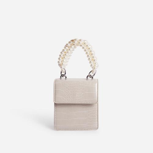 Duchess Pearl Handle Mini Grab Bag In Nude Croc Print Faux Leather