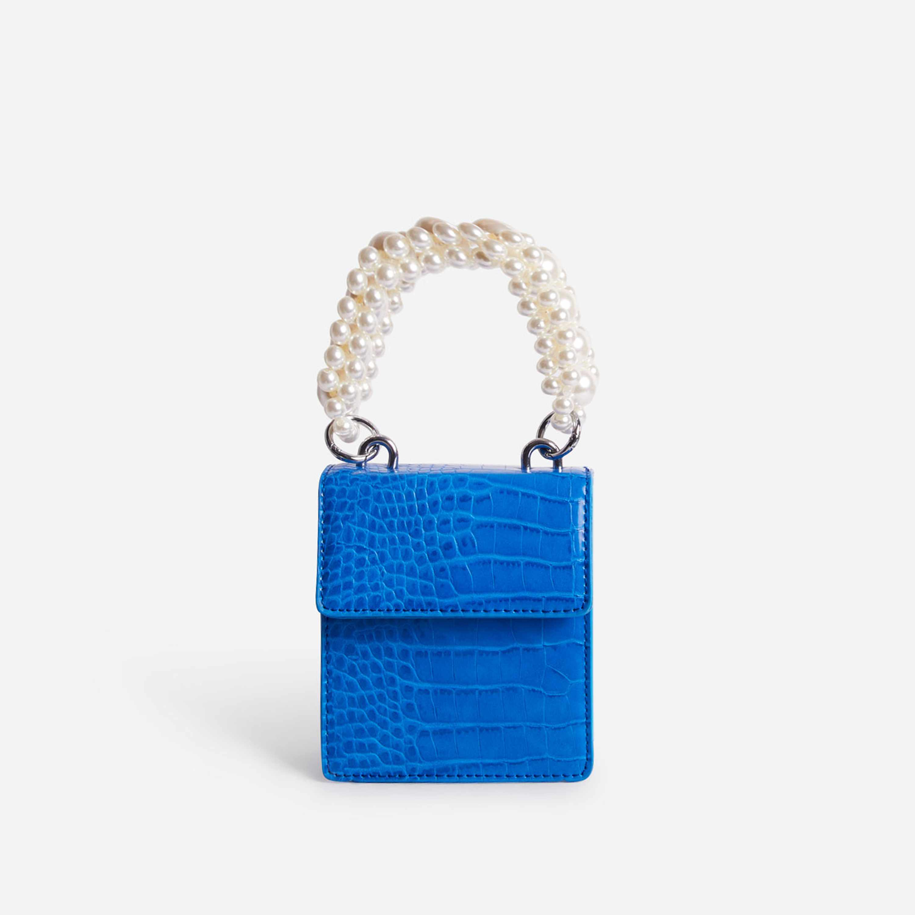 Duchess Pearl Handle Mini Grab Bag In Blue Croc Print Faux Leather