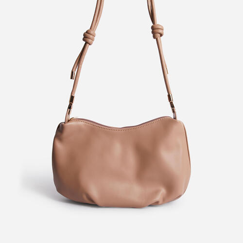 Cody Slouchy Shoulder Bag In Nude Faux Leather