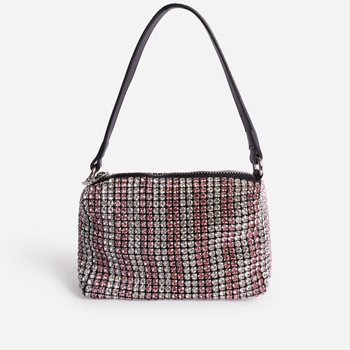 Glitterball Red Stripe Shoulder Bag In Silver Diamante